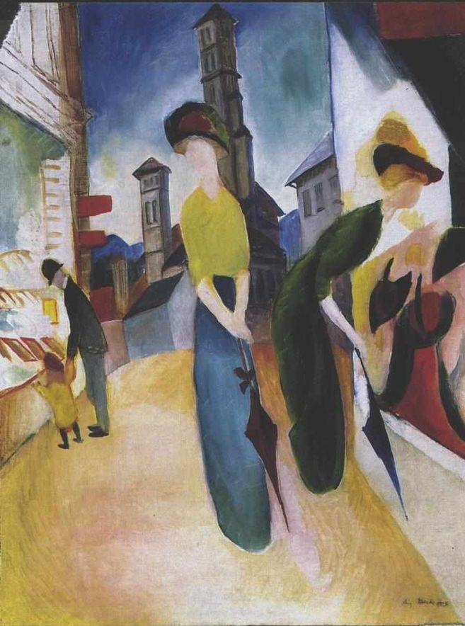 Two women shopping. August Macke: Zwei Frauen vor dem Hutladen (1913-14). Public Domain, available at http://commons.wikimedia.org/wiki/File:Macke_-_Zwei_Frauen_vor_dem_Hutladen.jpg.