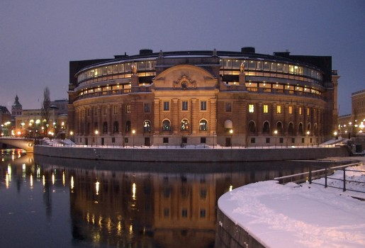 Sveriges riksdag, photograph by Christian Gidlöf, in public domain, available at http://commons.wikimedia.org/wiki/File:Sveriges_riksdag_fr_vasabron.JPG#mediaviewer/File:Sveriges_riksdag_fr_vasabron.JPG