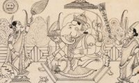 Public domain image from a manuscript of the Bhagavata Purana, available at https://commons.wikimedia.org/wiki/File:Ganesha_ink.jpg#mediaviewer/File:Ganesha_ink.jpg.