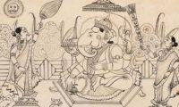Public domain image from a manuscript of the Bhagavata Purana, available at https://commons.wikimedia.org/wiki/File:Ganesha_ink.jpg#mediaviewer/File:Ganesha_ink.jpg.