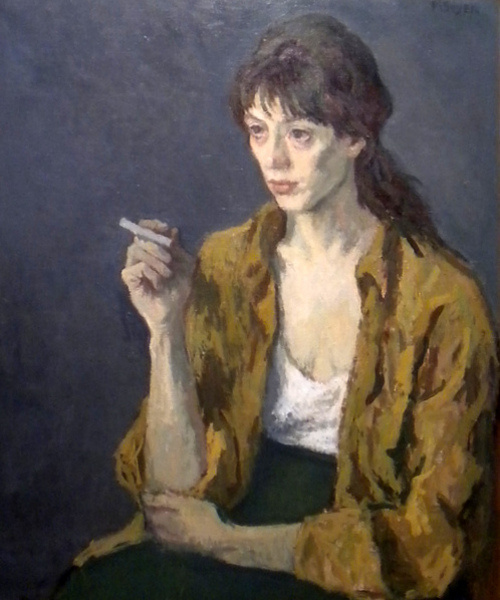 """Public domain image: Elizabeth Nourse, """"Woman with Cigarette."""" . Available at http://commons.wikimedia.org/wiki/File:Nourse_Woman_with_cigarette.jpg#mediaviewer/File:Nourse_Woman_with_cigarette.jpg."""