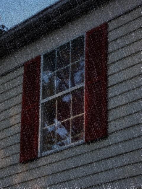 Shutters in a rainstorm