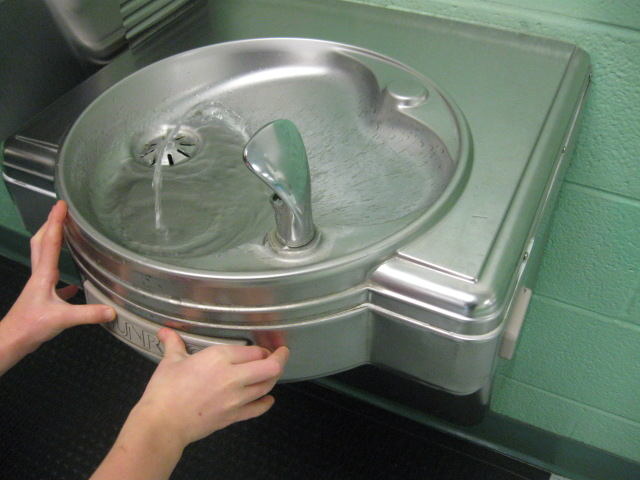 A water fountain, dutifully spouting water