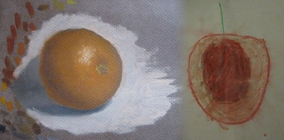 Cave drawings of orange and apple