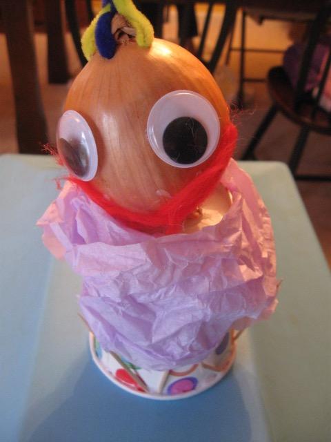 Onion head with big round eyes.