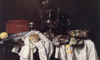 Still Life with Pie, Silver Ewer and Crab by Willem Claeszoon Heda (1658).