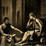 Aristotle and Alexander the Great wearing robe and tunic.
