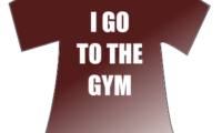 T-shirt that reads: I GO TO THE GYM