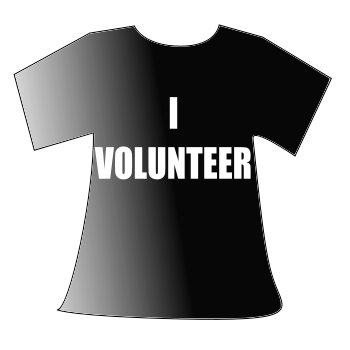 T-shirt that reads: I VOLUNTEER