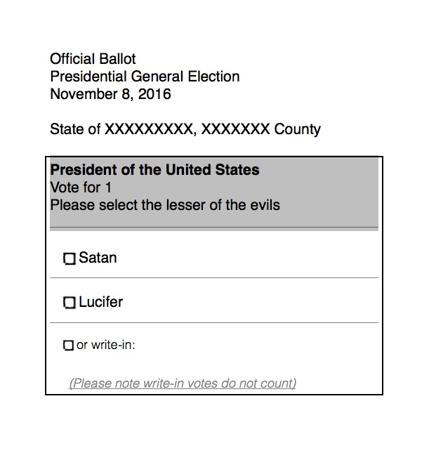 2016 Official U.S. Presidential Election Ballot