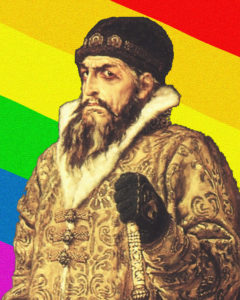 Ivan the Terrible posing with the new flag of Russia.