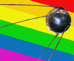 Sputnik with the new Russian flag