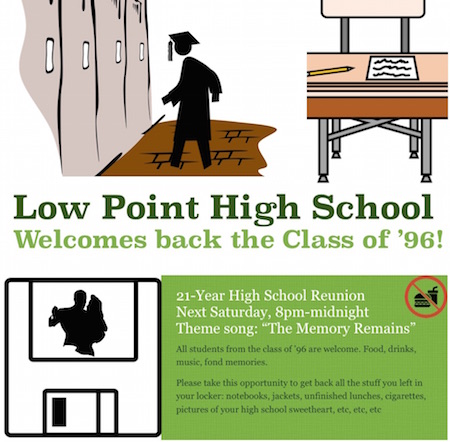 Flyer for high school reunion