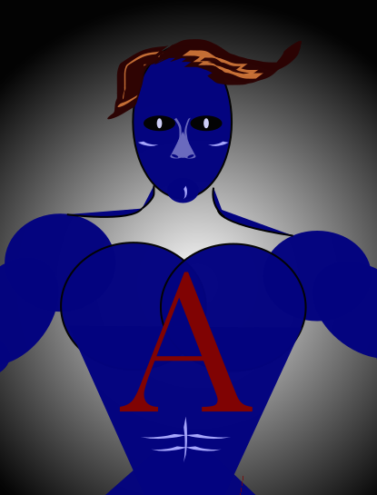 Superhero with a scarlet letter A on his chest.